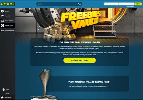 Thrills Casino Freebies Vault