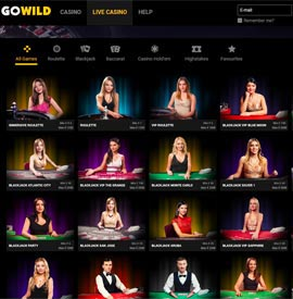 live dealers GoWild Casino