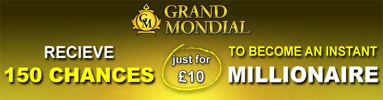 150 Chances To Become A Millionaire Bonus from Grand Mondial Casino