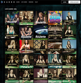 live dealers Kaboo Casino