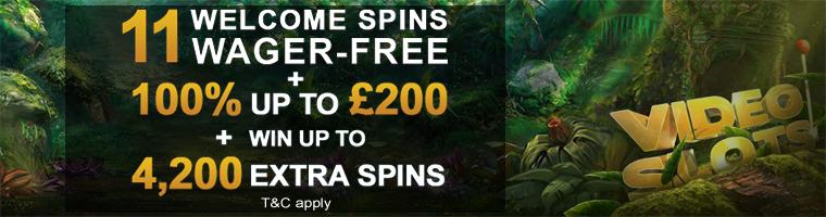 11 Welcome Spins + 100% up to £200 + 4,200 Extra Spins in Battle of Slots from Videoslots Casino